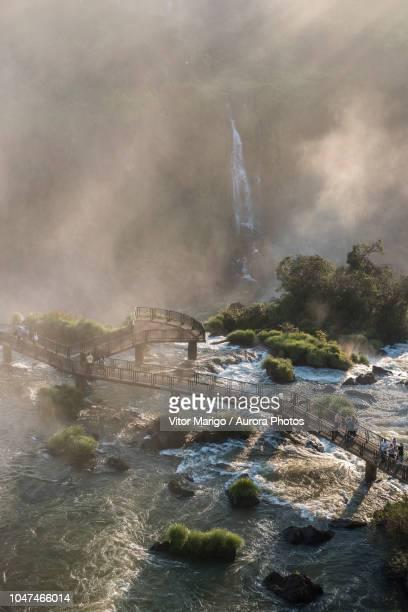 tourists visiting¬ýiguazu¬ýfalls, parana, brazil - イグアス滝 ストックフォトと画像