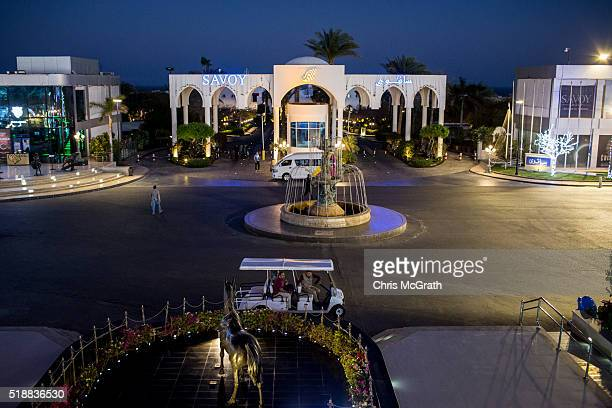 Tourists wait in a golf cart outside a resort in Soho Square on March 31 2016 in Sharm El Sheikh Egypt Prior to the Arab Spring in 2011 some...