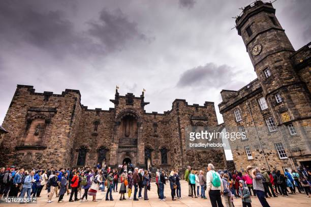 Tourists wait in line to see Scotland's crown jewels in Edinburgh castle