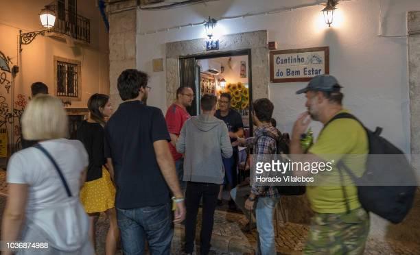 Tourists wait outside Cantinho do Bem Estar restaurant near Praca Camoes during the city's Noite Branca on September 20 2018 in Lisbon Portugal Noite...