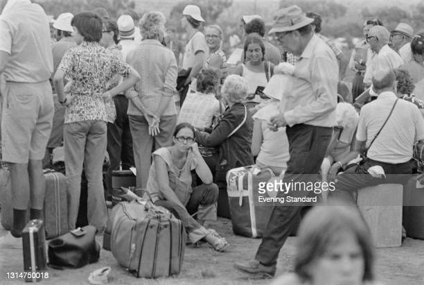 Tourists waiting to leave the Hilton Hotel in Nicosia during the Turkish invasion of Cyprus, UK, July 1974.