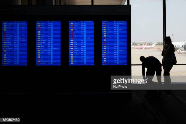 Tourists waits check in at Nok Air for their flights at Don Muang International Airport in Bangkok Thailand on 9 March 2017