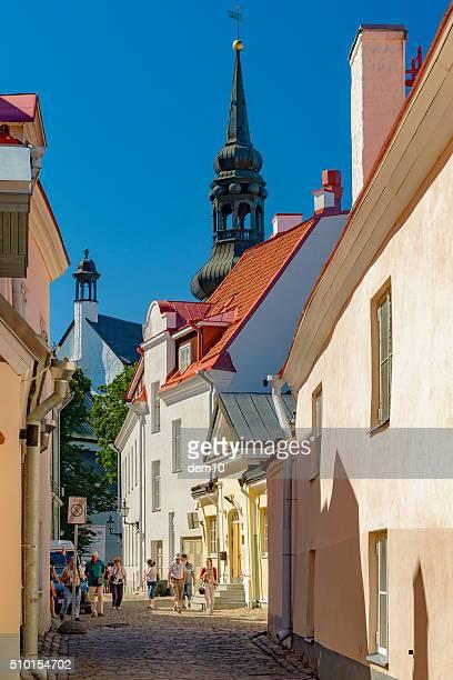 Tourists walk around in old town Tallinn at sunny day