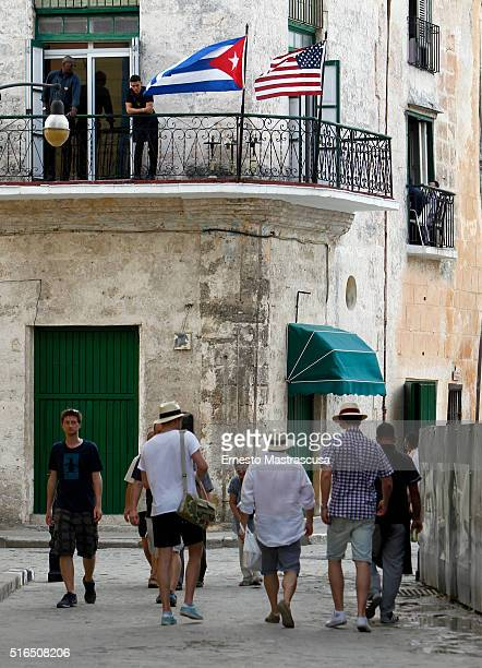 Tourists walk as Cuba prepares for the visit of U.S. President Barack Obama on March 19, 2016 in Havana, Cuba. Obama's visit on March 20 - 22 will be...