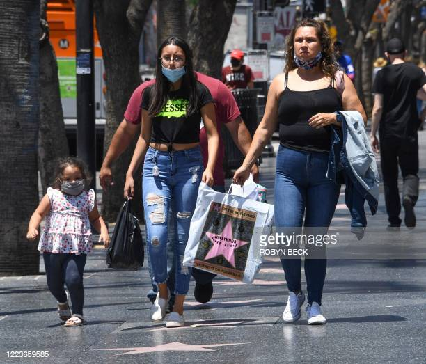 Tourists walk down Hollywood Blvd, June 30, 2020 in Hollywood, California. - The coronavirus pandemic is ravaging the global tourism industry. Los...