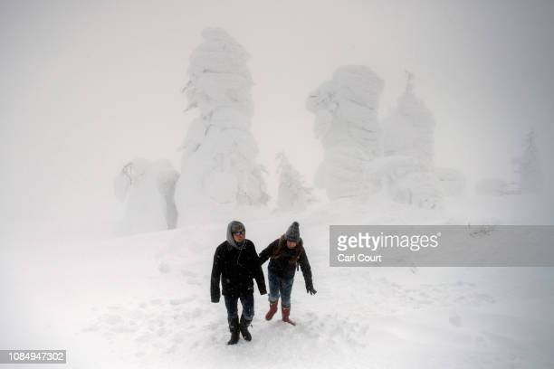 Tourists walk in heavy snow next to strangely shaped snow covered trees nicknamed 'snow monsters' on January 19 2019 on Mount Zao near Shiroishi...