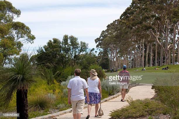 Tourists walk path through Western Australia Botanic Garden, Kings Park, Perth, Western Australia, Australia