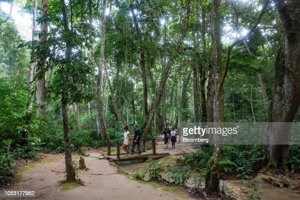 Tourists walk through a forest near the Kuang Si Waterfall in Luang Prabang Province Laos on Sunday Oct 21 2018 Laos's economy is set to expand at 7...