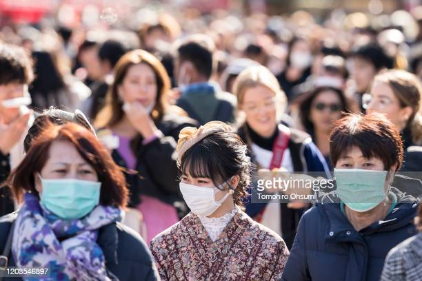 Tourists walk through the Asakusa district on February 02 2020 in Tokyo Japan Japan reported 20 cases of Wuhan coronavirus infections as the number...