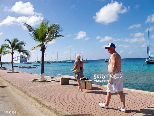 Tourists walk towards a cruise ship in Kralendijk on January 28, 2011 on the island of Bonaire. Bonaire has earned a reputation for being one of the...
