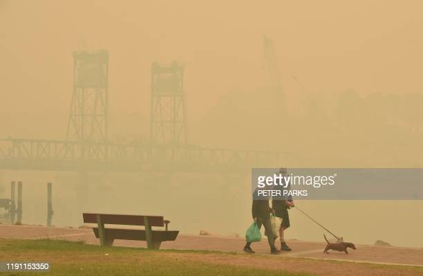 Tourists walk with a dog through dense smoke from bushfires in front of the Batemans Bay bridge as cars line up to leave the town in New South Wales...