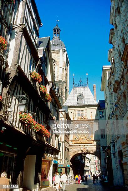 Tourists walking on a street, Rouen, Normandy, France