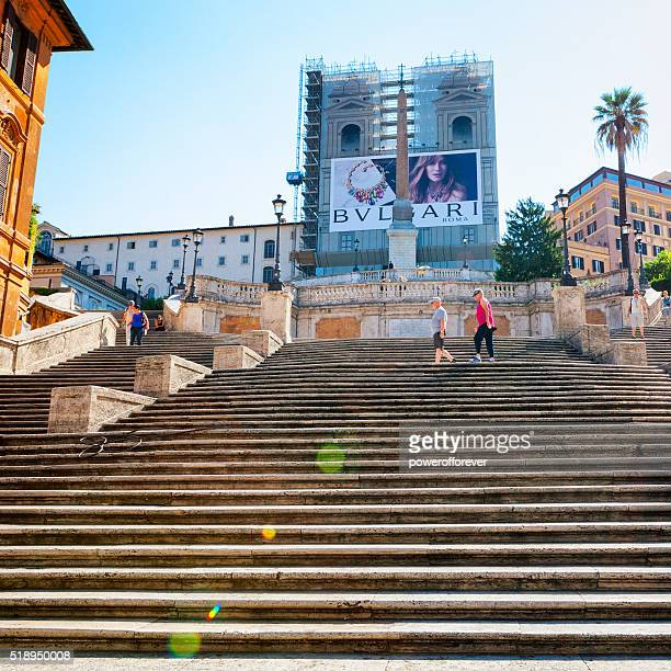 Tourists walking up the Spanish Steps in Rome, Italy