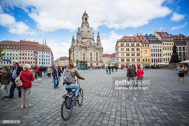 tourists wander the streets of dresden. - germany stock pictures, royalty-free photos & images