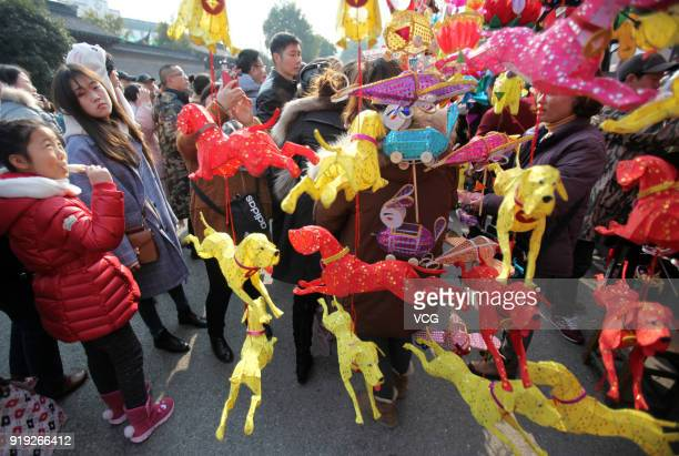 Tourists watch dogshaped lanterns at the Confucius Temple on the second day of Spring Festival on February 17 2018 in Nanjing Jiangsu Province of...