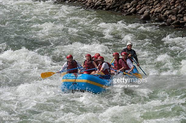 Tourists white water rafting at Pozo Azul near Virgen de Sarapiqui in Costa Rica