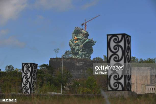 Tourists witnessed the completion of the construction project of Garuda Wisnu Kencana Statue in Bukit Unggasan Jimbaran Bali July 03 2018the...