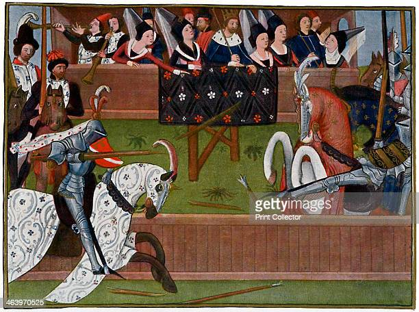 A tournament c1350s Jean de Saintre defeats his opponent in a joust watched by the French King Jean le Bon The two knights are in full armour divided...