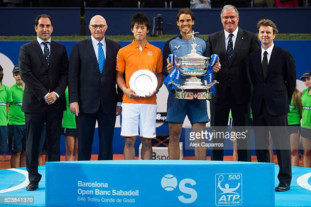 Tournament Director Albert Costa President of Banc Sabadell Josep Oliu Kei Nishikori of Japan Rafael Nadal of Spain President of Real Club de Tenis...