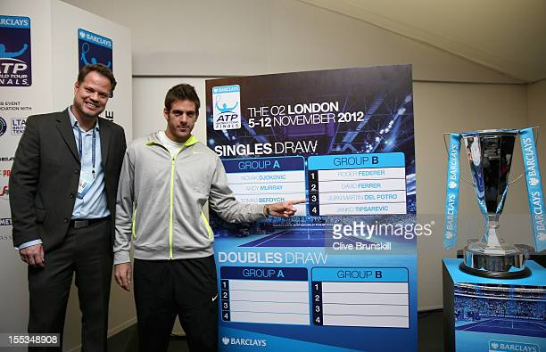 Tournament Director Andre Da Silva with Juan Martin Del Potro of Argentina at the official tournament draw prior to the start of ATP World Tour...