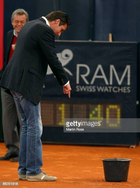 Tournament director Michael Stich is seen during a rain break at day six of the International German Open at Rothenbaum Tennis Centre on July 25 2009...