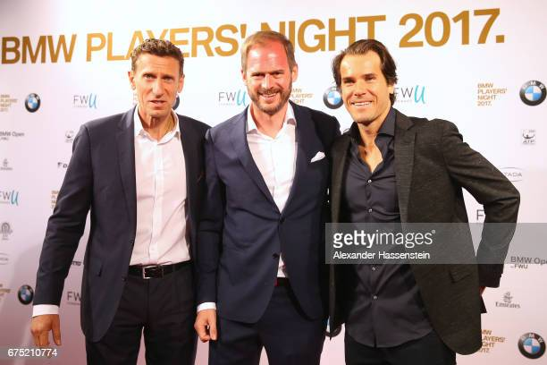 Tournament director Patrick Kuehnen Peter Bosch and Tommy Haas arrive at the Players Night of the 102 BMW Open by FWU at Iphitos tennis club on April...