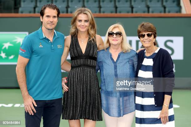 Tournament Director Tommy Haas Daniela Hantuchova of Slovakia Mariane Hantuchova and Assistant Tournament Director Peggy Michel during the BNP...