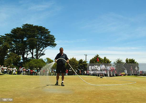 Tournament ground staff water the third green shortly before the first round of the Holden Australian Open was cancelled at the Victorian Golf Club...