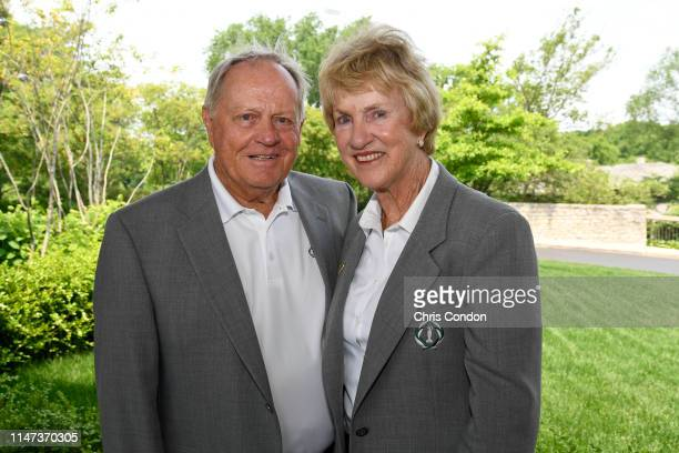Tournament Host Jack Nicklaus and his wife Barbara pose for a photo during the third round of the Memorial Tournament presented by Nationwide at...