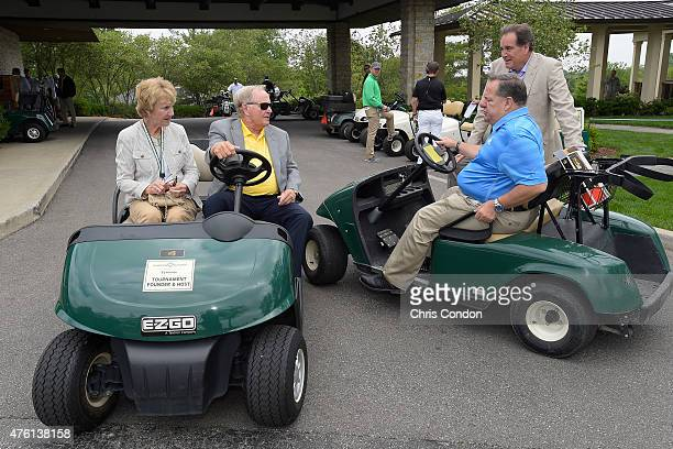 Tournament host Jack Nicklaus and wife Barbara chat with Lance Barrow and Jim Nantz of CBS television during the third round of the Memorial...