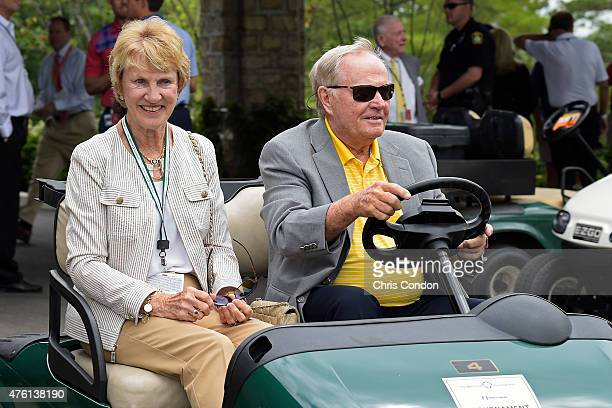 Tournament host Jack Nicklaus and wife Barbara ride in a golf cart during the third round of the Memorial Tournament presented by Nationwide at...