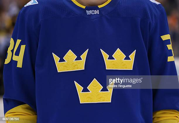 Tournament jersey for Team Sweden prior to the game against Team Finland during the World Cup of Hockey 2016 at Air Canada Centre on September 20...