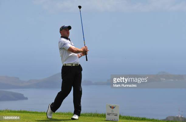 Tournament Leader Craig Lee of Scotland on the picturesque 5th tee during Day Three of Madeira Islands Open Portugal BPI at Club de Golf do Santo da...