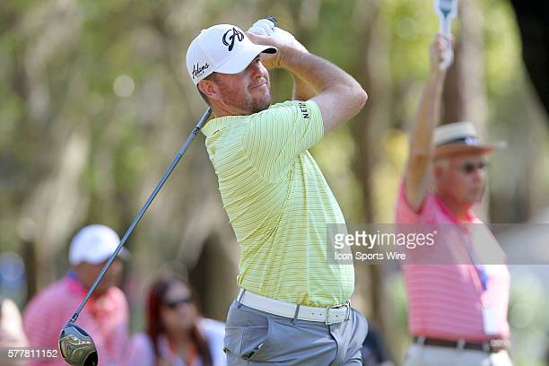 Tournament leader Robert Garrigus tees off during the third round of the Valspar Championship at Innisbrook Resort - Copperhead in Palm Harbor,...