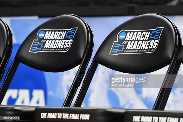 NCAA tournament logo on players chairs during the Second Round of the NCAA Basketball Tournament between the Notre Dame Fighting Irish and the West...