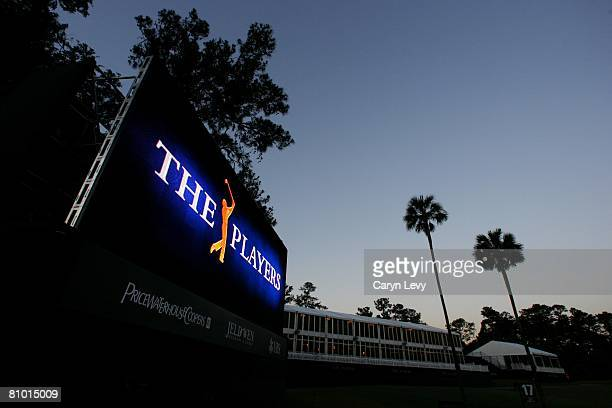 Tournament logo on video board at dawn during the second day of practice for THE PLAYERS Championship on THE PLAYERS Stadium Course at TPC Sawgrass...