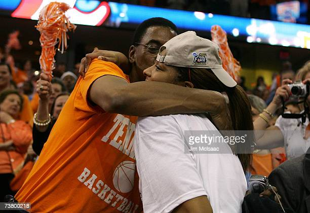 Tournament MVP Candace Parker of the Tennessee Lady Volunteers hugs her father, Larry Parker, as they celebrate Tennessee's 59-46 victory against the...