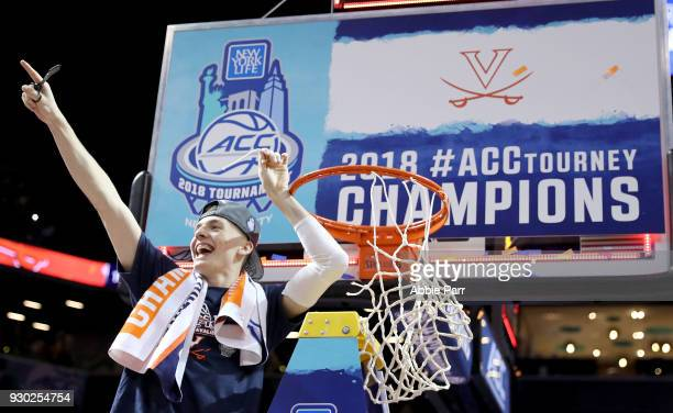 Tournament MVP Kyle Guy of the Virginia Cavaliers celebrates after defeating the North Carolina Tar Heels 7163 during the championship game of the...