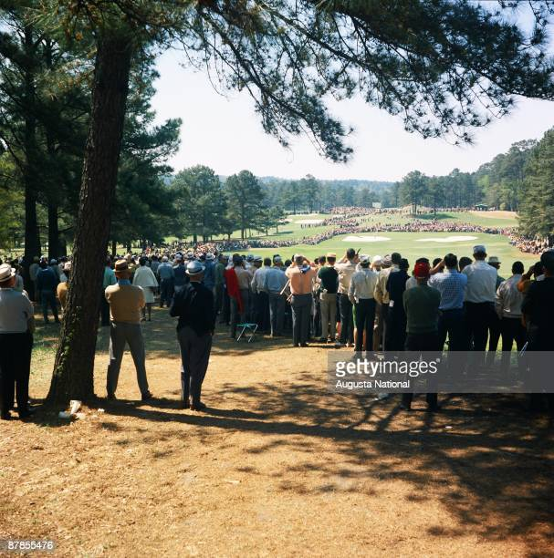 Tournament play on the 2nd hole during the 1966 Masters Tournament at Augusta National Golf Club in April 1966 in Augusta Georgia