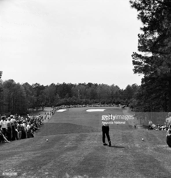 Tournament play on the fourth hole during the 1960 Masters Tournament at Augusta National Golf Club in April 1960 in Augusta Georgia