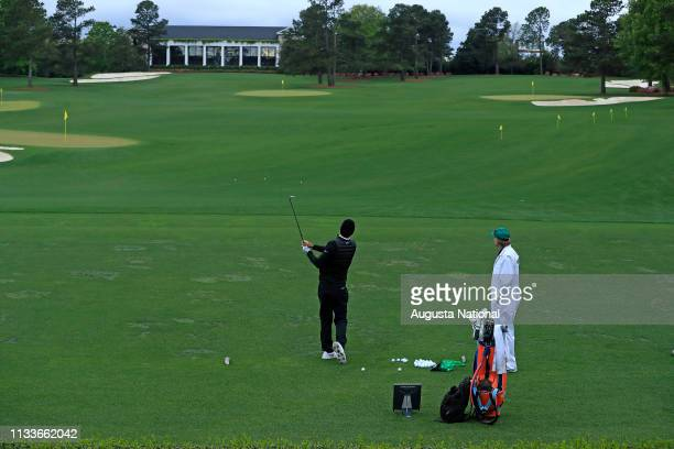 Tournament Practice Facility during the fourth round of the Masters at Augusta National Golf Club Sunday April 7 2018