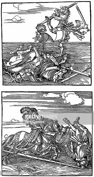 'Tournament scenes' 15151516 Freydal series Emperor Maximilian I of Germany unseats an opponent in a joust from an unpublished book glorifying the...