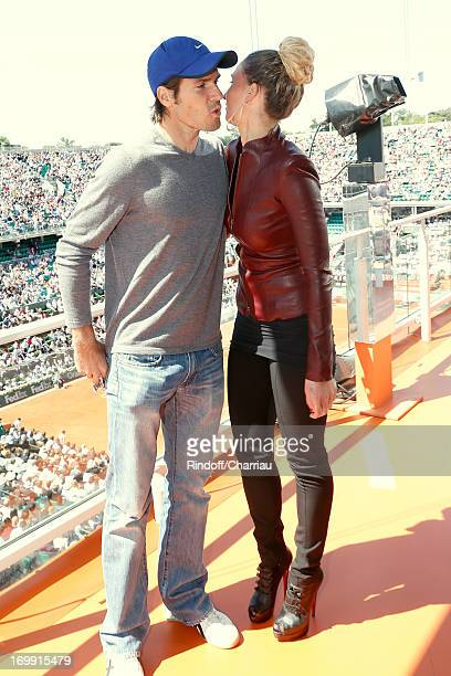 Tournament veteran with 35 years Tommy Haas stands with Former tennis player and Journalist Tatiana Golovin at France 2 studio whyle Roland Garros...