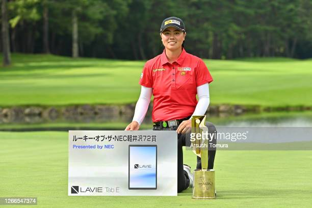 Tournament winner and the Rookie of the NEC Karuizawa 72 Award winner Yuka Saso of Japan poses following the final round of the NEC Karuizawa 72 Golf...