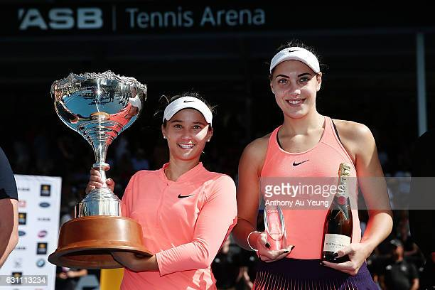 Tournament winner Lauren Davis of USA poses with runnerup Ana Konjuh of Croatia on day six of the ASB Classic on January 7 2017 in Auckland New...