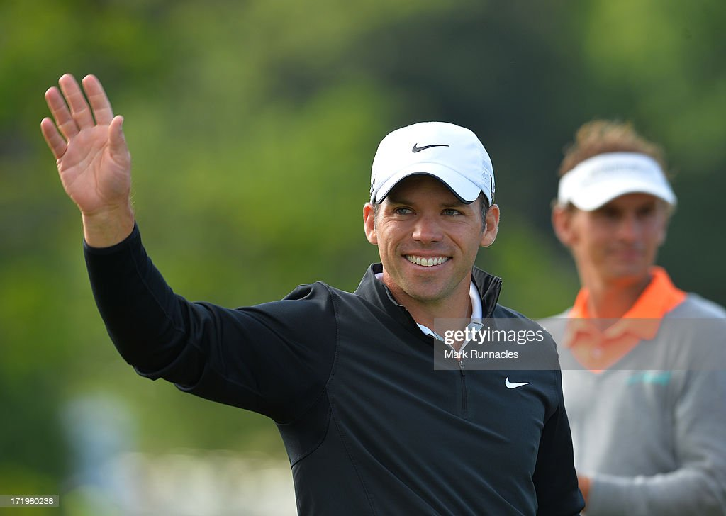 Tournament Winner Paul Casey of England at the conclusion of the Irish Open at Carton House Golf Club on June 30, 2013 in Maynooth, Ireland.