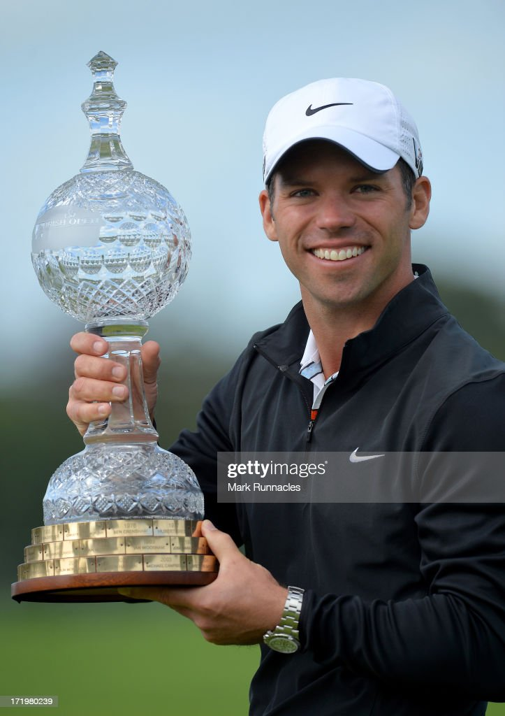 Tournament Winner Paul Casey of England lifts the trophy at the conclusion of the Irish Open at Carton House Golf Club on June 30, 2013 in Maynooth, Ireland.