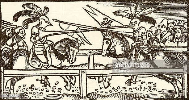 A Tournament woodcut by Urs Graf from two Tales of Chivalry Two jousting knights in armour face each other on horseback with lances from which fly...