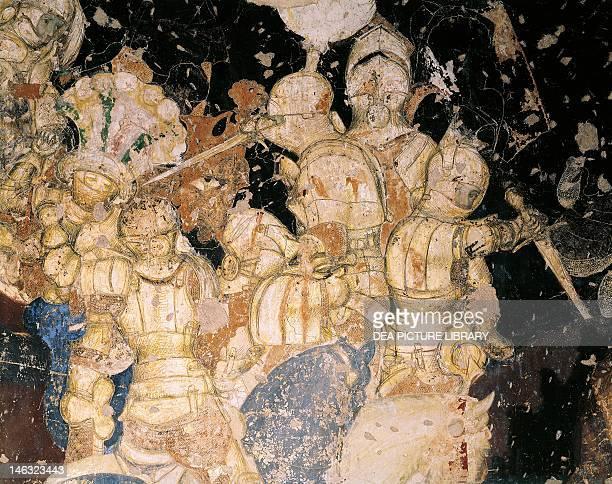 TournamentBattle of Louvezerp by Antonio Pisano known as Pisanello fresco Detail Palazzo Ducale Mantua