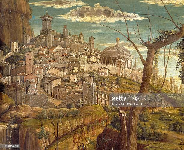 Tours Musée Des BeauxArts Agony in the Garden 14571459 by Andrea Mantegna tempera on wood 71x94 cm Detail view of Jerusalem